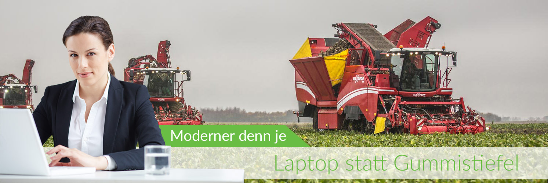 Absolventin der Landwirtschaft am Laptop